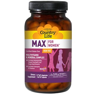 Country Life, Max, for Women, Multivitamin & Mineral Complex, Iron Free, 120 Veggie Caps