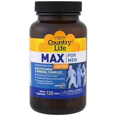 Country Life Max for Men, мультивитаминный и минеральный комплекс для мужчин, не содержит железа, 120 таблеток