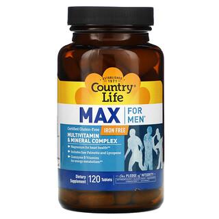Country Life, Max for Men, Complejo Multivitamínico y Mineral, Sin Hierro, 120 Comprimidos