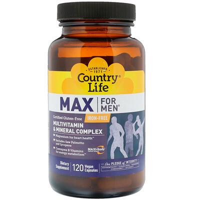Купить Country Life Max for Men, мультивитаминный и минеральный комплекс, без железа, 120 веганских капсул