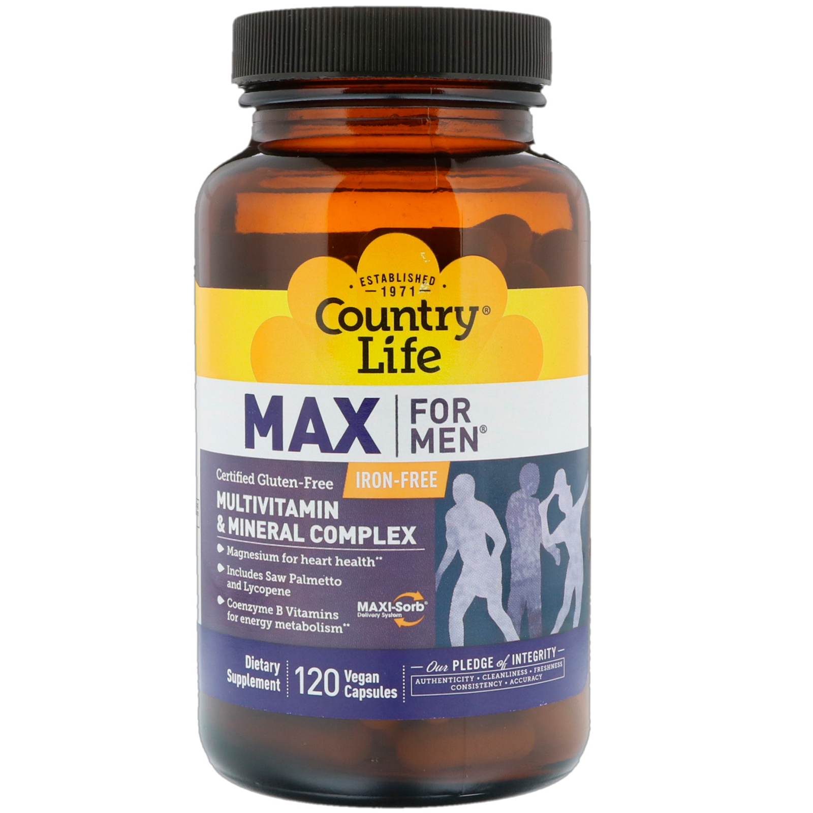 Country Life, Max for Men, Multivitamin & Mineral Complex, Iron-Free, 120  Vegan Capsules