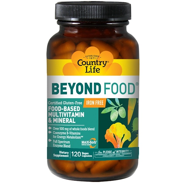 Country Life, Beyond Food, Food-Based Multivitamin & Mineral, Iron Free, 120 Vegan Capsules (Discontinued Item)