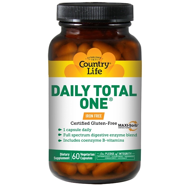 Country Life, Daily Total One, Iron-Free, 60 Veggie Caps