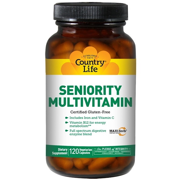 Country Life, Seniority Multivitamin, 120 Vegetarian Capsules (Discontinued Item)