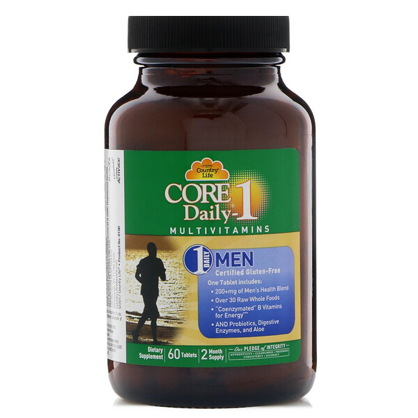 Country Life, Multivitamina Core Daily-1, para Hombres, 60 Tabletas