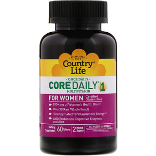 Country Life, Multivitaminas Core Daily-1, Mulheres, 60 Tabletes