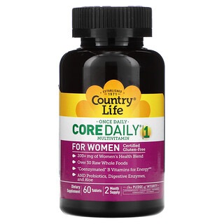Country Life, Core Daily-1 فيتامينات متعددة للنساء، 60 قرص