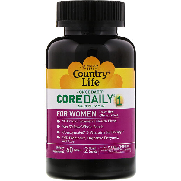 Country Life, Core Daily-1 Multivitamin, Women, 60 Tablets