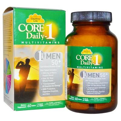 Купить Country Life Core Daily-1, мультивитамины для мужчин старше 50лет, 60таблеток
