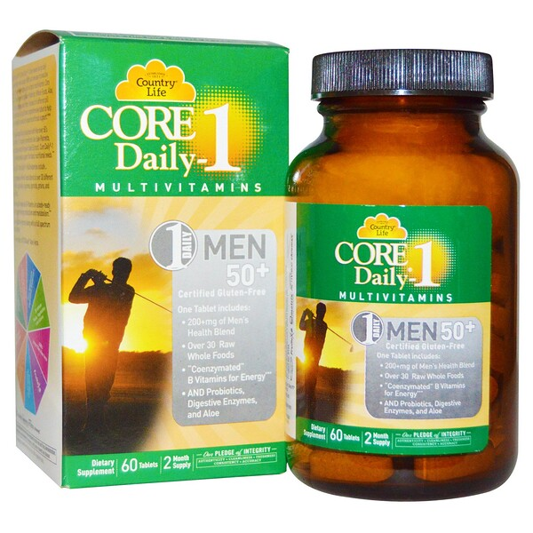 Country Life, Core Daily-1 Multivitamins, Men 50+, 60 Tablets