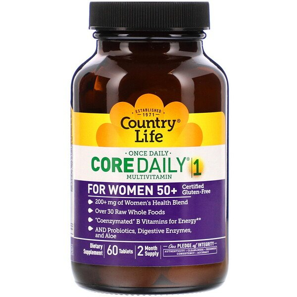 Country Life, Core Daily-1 Multivitamin for Women 50+, 60 Tablets
