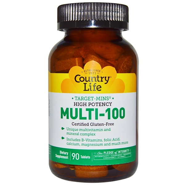 Country Life, Target-Mins, Multi-100, High Potency, 90 Tablets