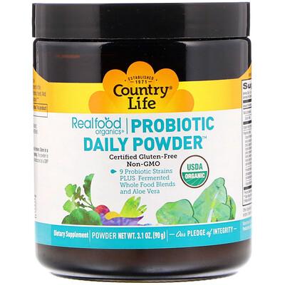 Купить Country Life Realfood Organics, пробиотики в порошке на каждый день, 3.1 унций (90 г)