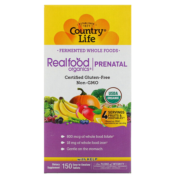 Realfood Organics, Prenatal, 150 Easy-to-Swallow Tablets