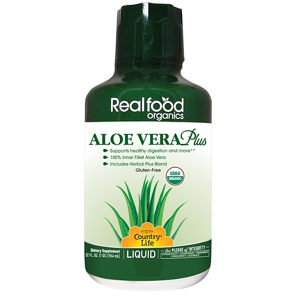 Country Life, Realfood Organics, Aloe Vera Plus, 32 fl oz (944 ml) (Discontinued Item)