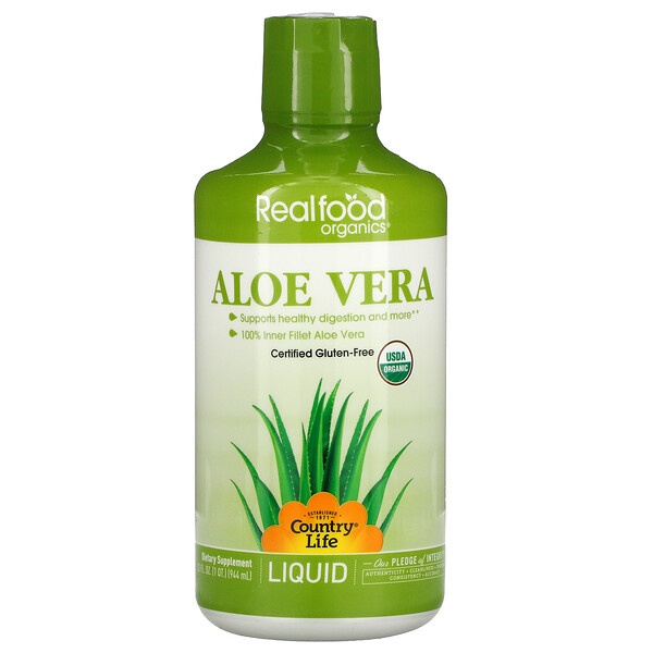 Realfood Organics, Aloe Vera Liquid, 32 fl oz (944 ml)