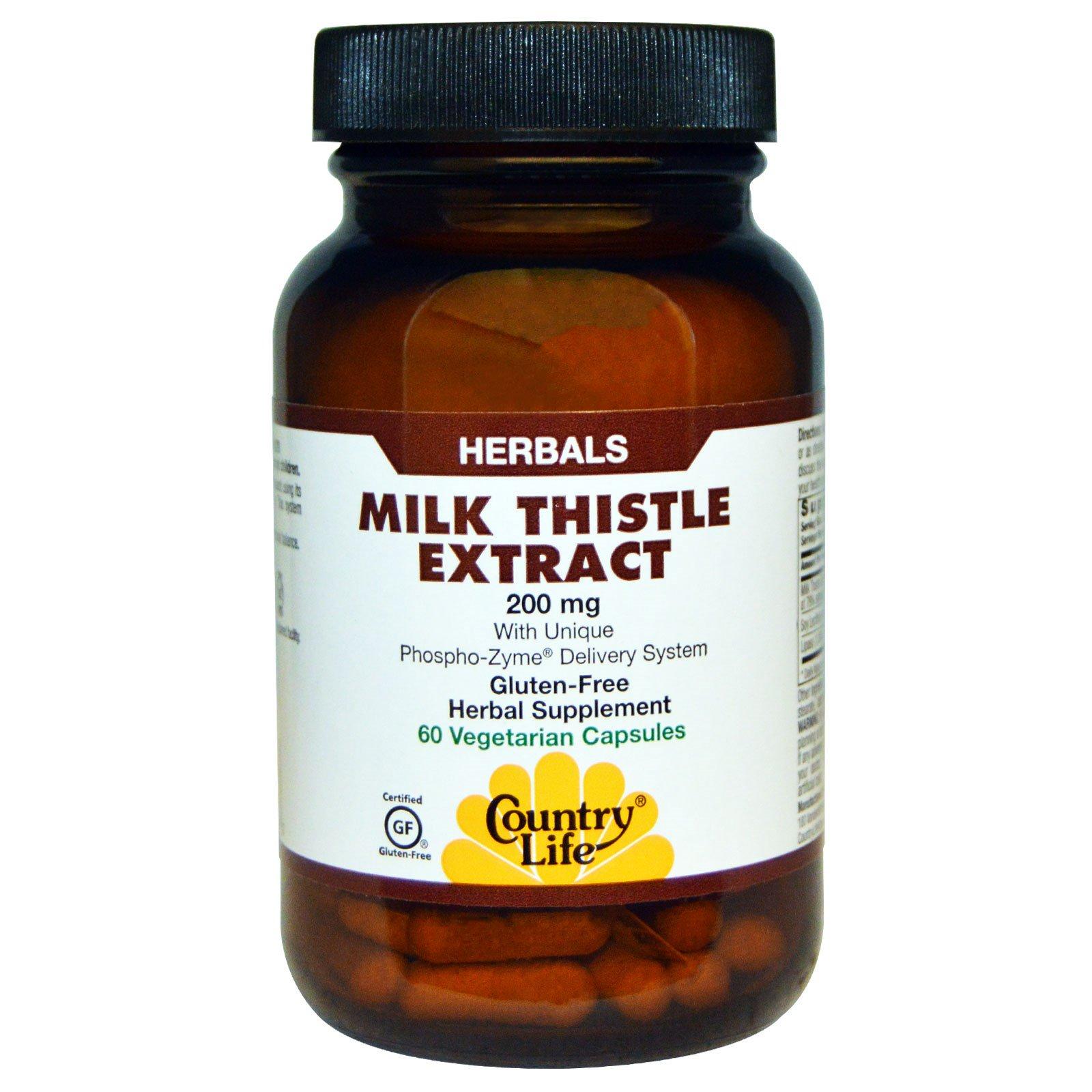 Country Life, Экстракт расторопши пятнистой, 200 мг, 60 вегетарианских капсул