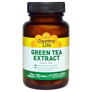 Country Life, Экстракт зеленого чая, 90 таблеток