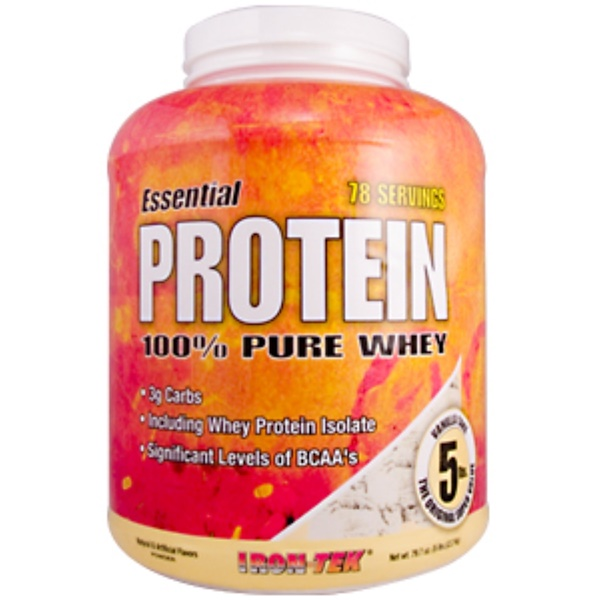Country Life, Iron Tek, Essential Protein 100% Pure Whey Vanilla Cake Flavor, 79.7 oz (5 lb) (Discontinued Item)