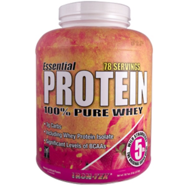 Country Life, Iron Tek, Essential Protein 100% Pure Whey, Wild Strawberry Flavor, 79.7 oz (5 lb) (Discontinued Item)