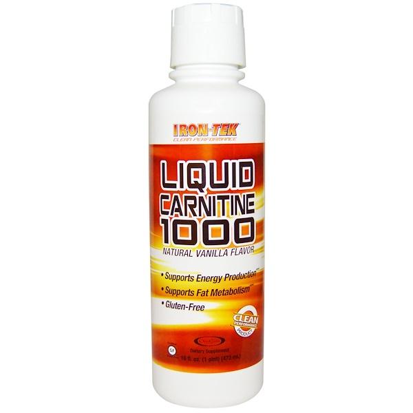 Country Life, Iron Tek, Liquid Carnitine 1000, Natural Vanilla Flavor, 16 fl oz (473 ml) (Discontinued Item)