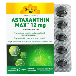 Country Life, Astaxanthin Max, 12 mg, 60 Softgels