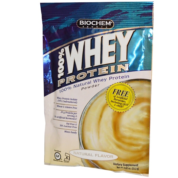 Country Life, BioChem Sports, 100% Whey Protein Powder, Natural Flavor, 0.82 oz (23.3 g) (Discontinued Item)