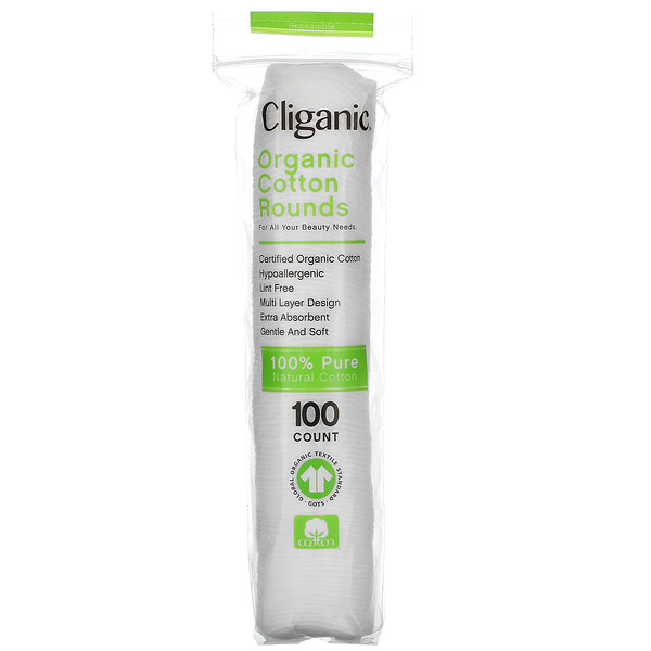 Cliganic, Organic Cotton Rounds, 100 Count