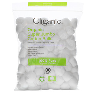 Cliganic, Organic Super Jumbo Cotton Balls, 100 Count