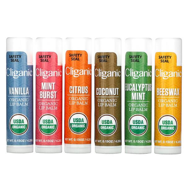 Organic Lip Balm Set, 6 Pack, 0.15 fl oz (4.25 ml) Each