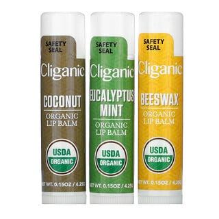 Cliganic, Organic Lip Balm Set, 3 Pack, 0.15 fl oz (4.25 ml) Each