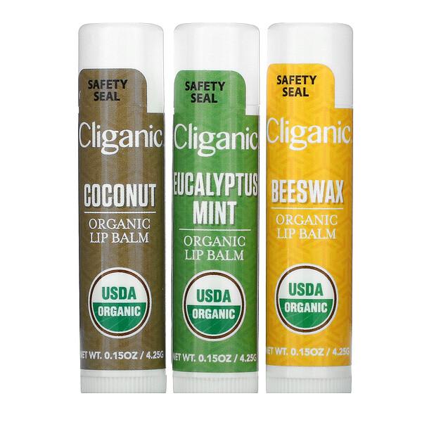 Organic Lip Balm Set, 3 Pack, 0.15 fl oz (4.25 ml) Each