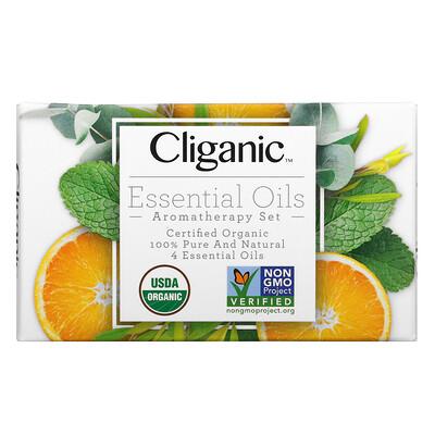 Купить Cliganic Essential Oils, Aromatherapy Set, 4 Piece Set