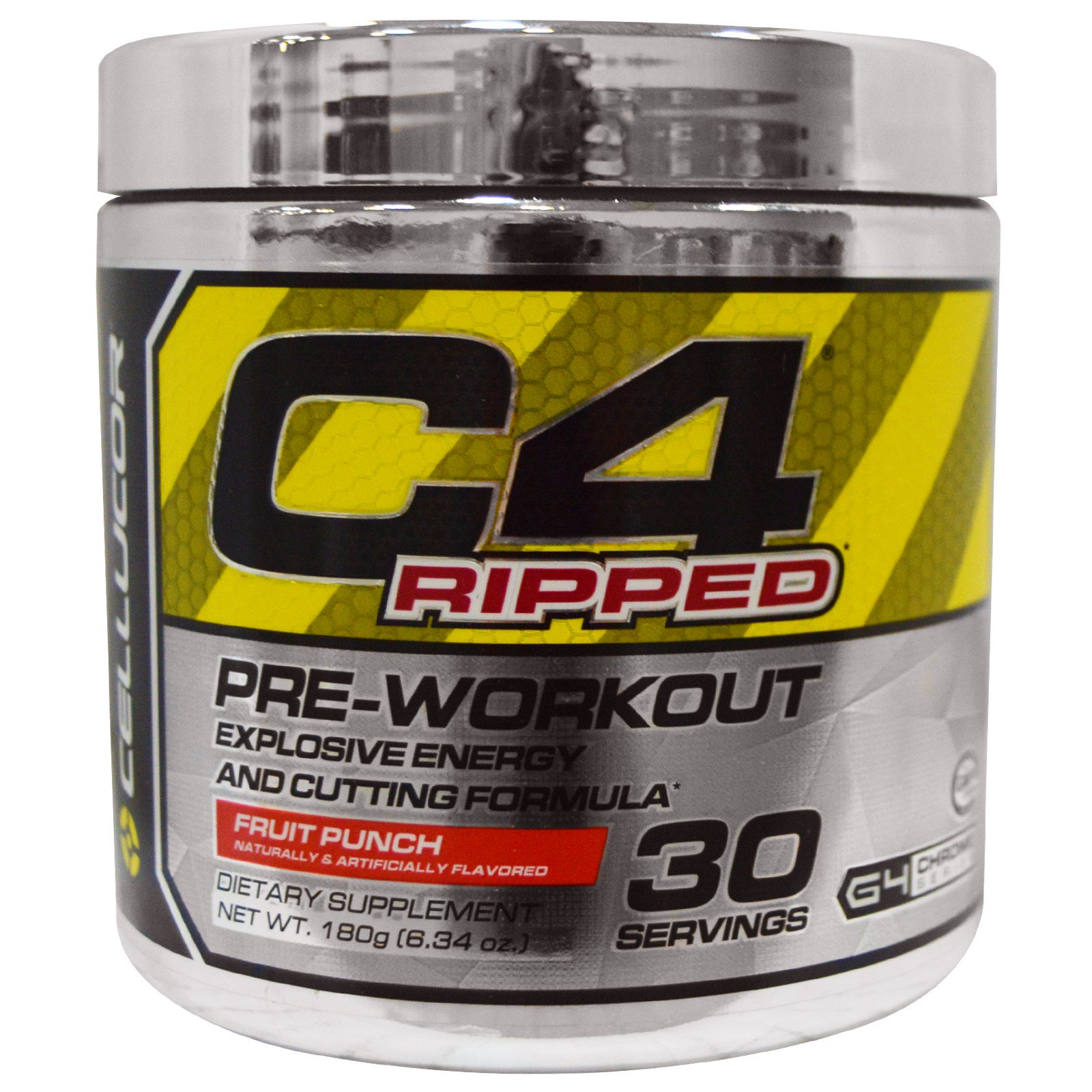 Cellucor, C4 Ripped, Pre-Workout, Fruit Punch, 6.34 oz (180 g) - iHerb.com