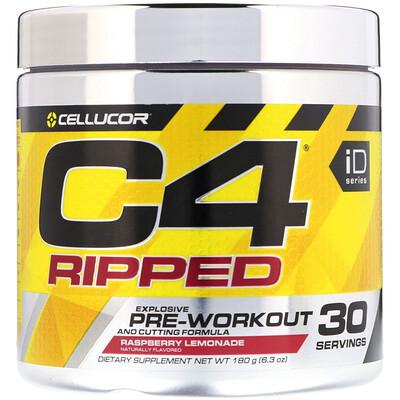 Купить Cellucor C4 Ripped, предтренировочный комплекс, со вкусом «Малиновый лимонад», 180г (6, 3унции)