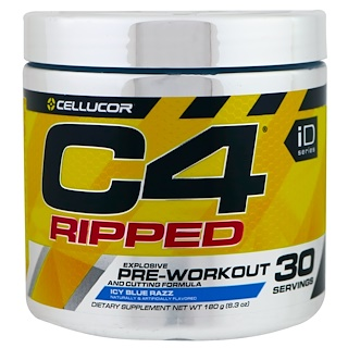Cellucor, C4 Ripped Explosive, Pre-Workout, Icy Blue Razz, 6.3 oz (180 g)
