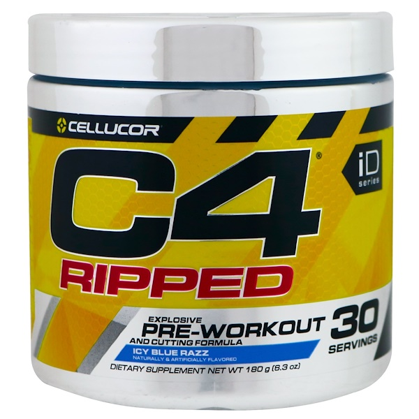 C4 Ripped, Pre-Workout, Icy Blue Razz, 6.3 oz (180 g)