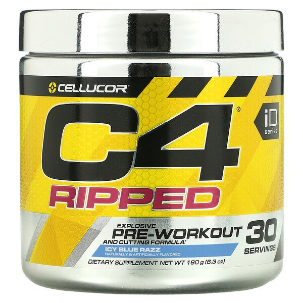 C4 Ripped, Explosive Pre-Workout, Icy Blue Razz, 6.3 oz (180 g)