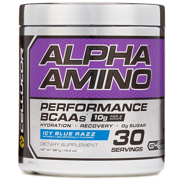 Alpha Amino, Performance BCAAs, Icy Blue Razz, 13.4 oz (381 g)