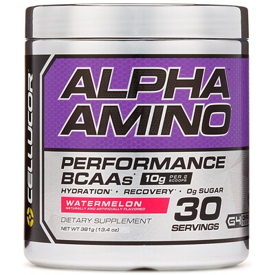 Фото - Alpha Amino, аминокислоты с разветвленной цепью для эффективности тренировок, арбуз, 13,4 унции (381 г) amino build next gen аминокислоты нового поколения для повышения энергии фруктовый пунш 284г 10 03унции