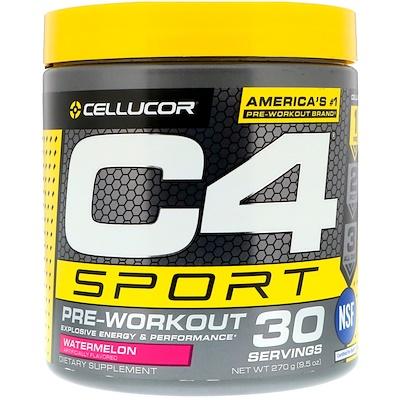 Купить Cellucor C4 Sport, Предтренировочная формула, Арбуз, 9, 5 унц. (270 г)