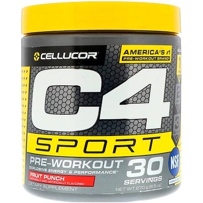 Купить Cellucor C4 Sport, предтренировочный, фруктовый пунш, 9, 5 унции (270 г)