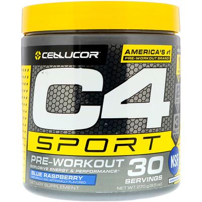 Купить Cellucor C4 Sport, предтренировочный, голубая малина, 9, 5 унции (270 г)