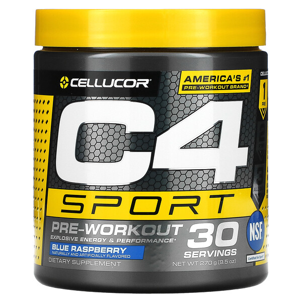 C4 Sport, preentrenamiento, frambuesa azul, 9.5 oz (270 g)
