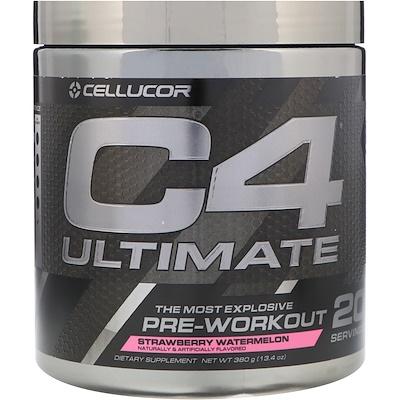 Купить Cellucor Предтренировочный комплекс C4 Ultimate, вкус клубники и арбуза, 13, 4 унции (380 г)
