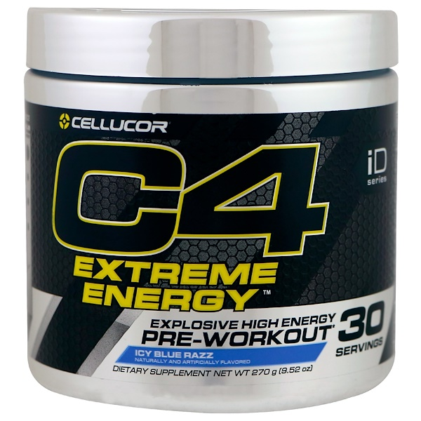 C4 Extreme Energy, Pre-Workout, Icy Blue Razz, 9.52 oz (270 g)