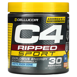 Cellucor, C4 Ripped Sport, Pre-Workout, Arctic Snow Cone, 8.7 oz (246 g)