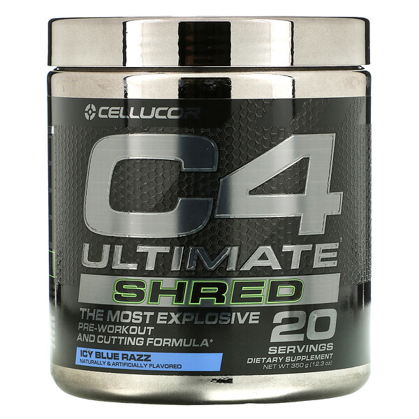 C4 Ultimate Shred, Pre-Workout, Ice Blue Razz, 12.3 oz (350 g)