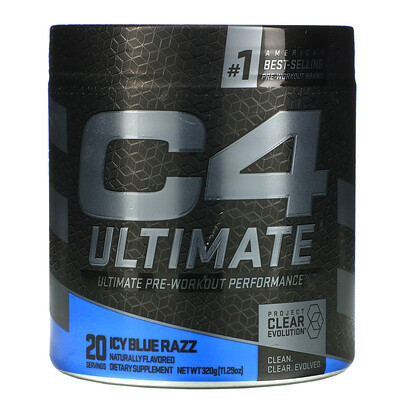 Cellucor C4 Ultimate Pre-Workout Performance, Icy Blue Razz, 11.29 oz (320 g)