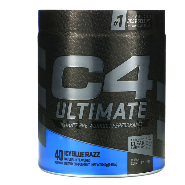C4 Ultimate Pre-Workout Performance, Icy Blue Razz, 1.41 lbs ( 640 g)